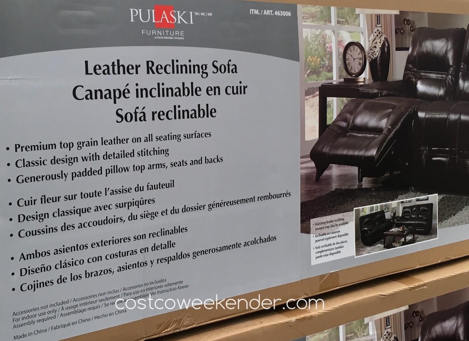 Pulaski Furniture Leather Reclining Sofa