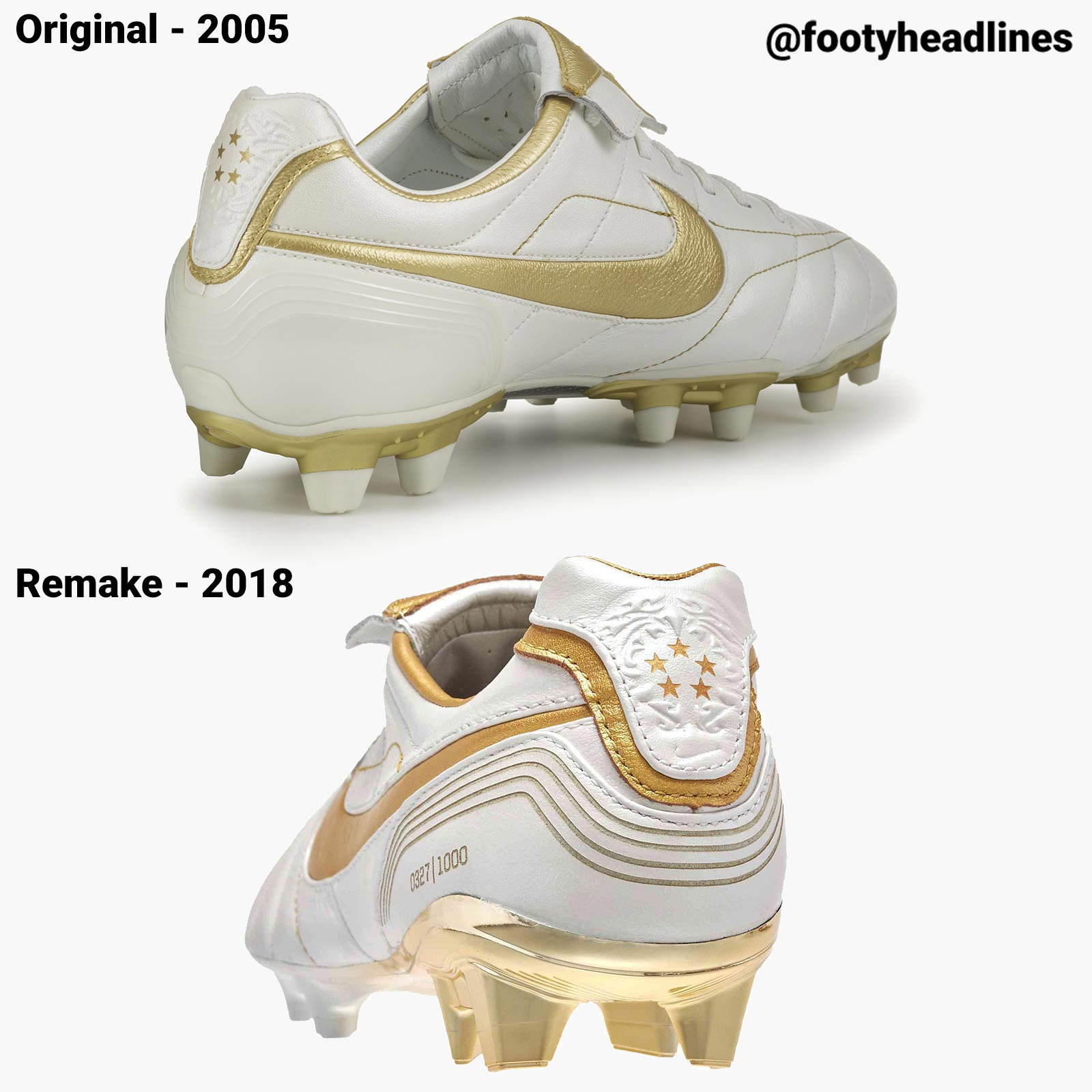 4c378519610 Nike Air Legend Tiempo Ronaldinho - 2018 Remake vs 2005 Original ...