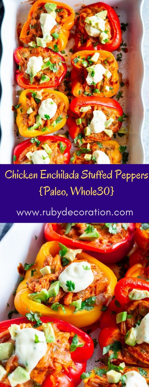 Chicken Enchilada Stuffed Peppers {Paleo, Whole30}