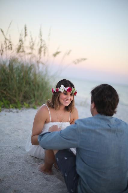 sanibel wedding rehearsal photoraph on beach with flower crown