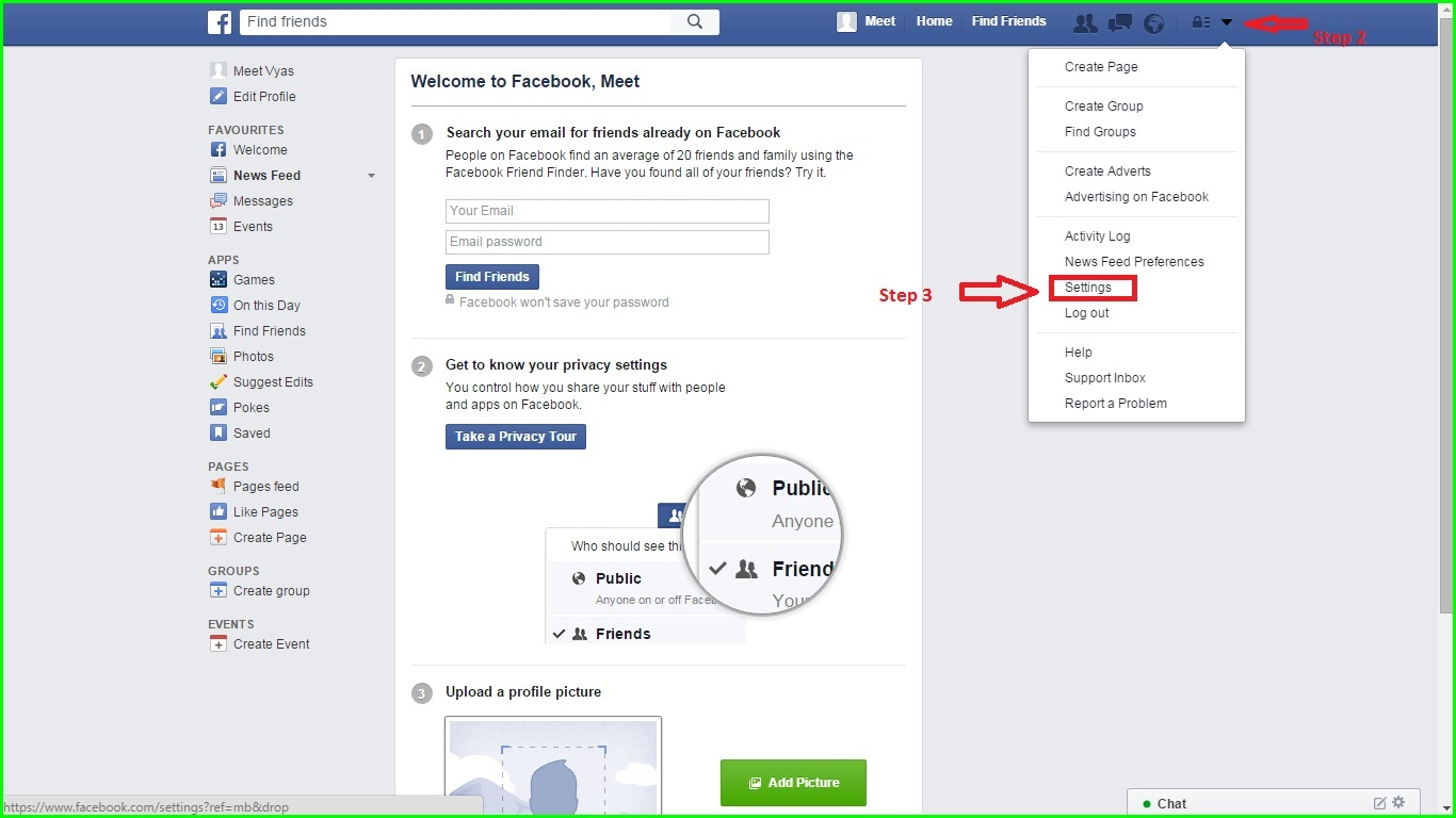 Click Download A Copy Of Your Facebook Data Below Your General Account  Settings, How To Hide Friend Option From Facebook Profile