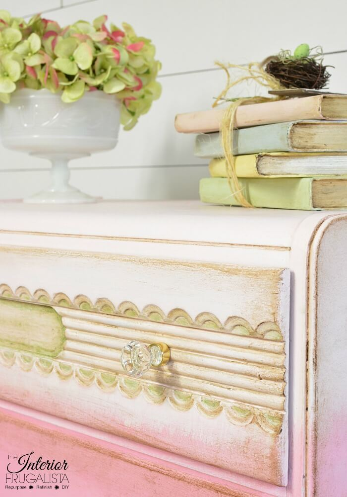 Pink Ombre Waterfall Dresser Carved Details