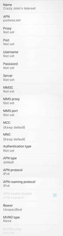 Crazy Johns APN Settings for Android