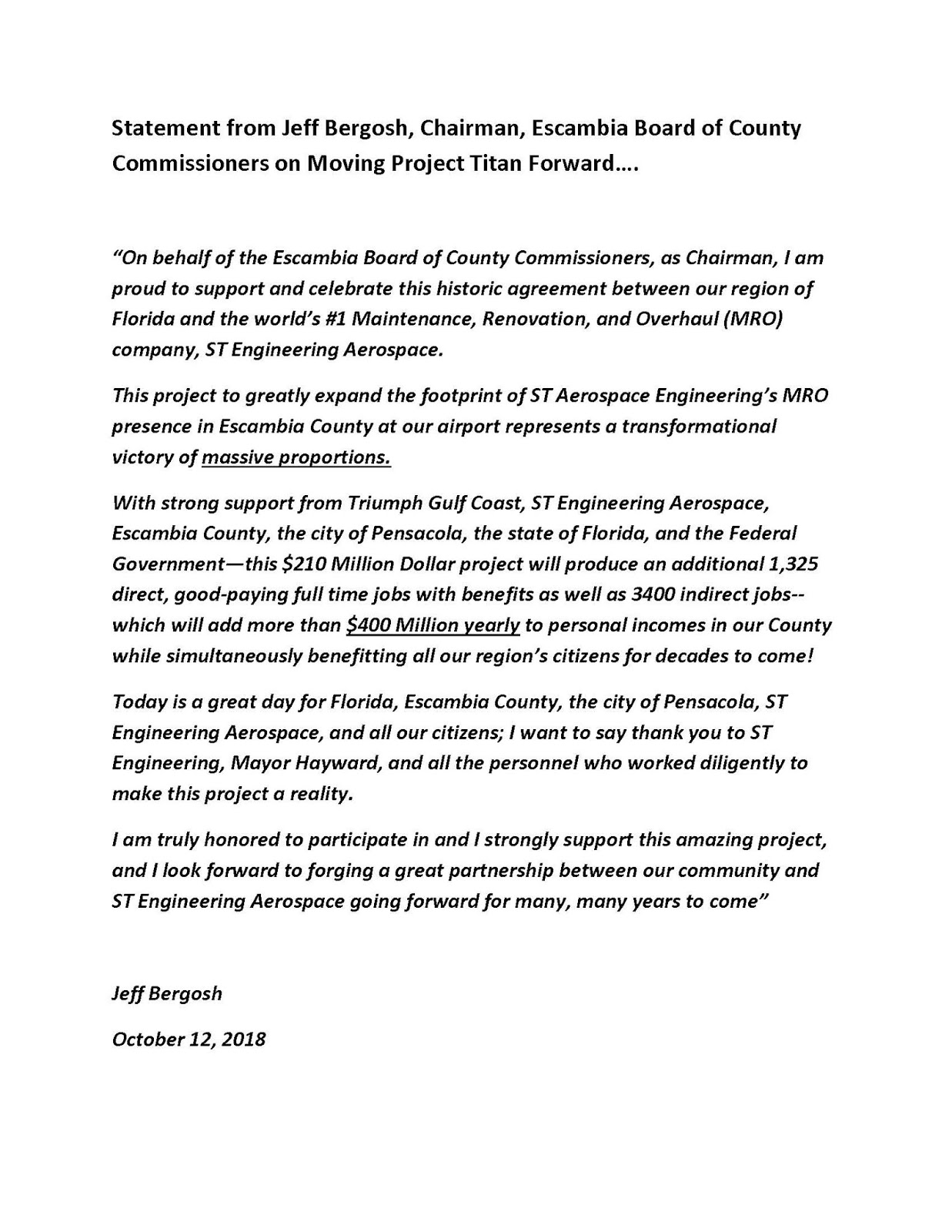 Jeff Bergosh Blog: Project Titan: Moving Forward to the