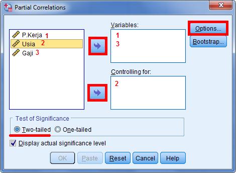 cara menghitung korelasi parsial dengan menggunakan program spss statistik 5