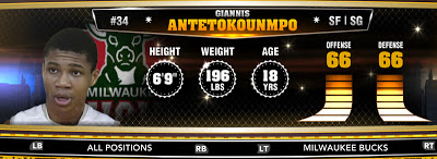 NBA 2K13 Bucks Giannis Antetokounmpo - Round 1 15th Overall