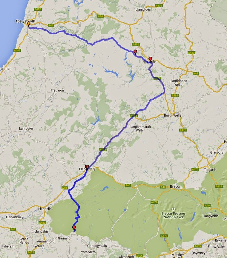 Aberystwyth to Top Gear mountain road route.