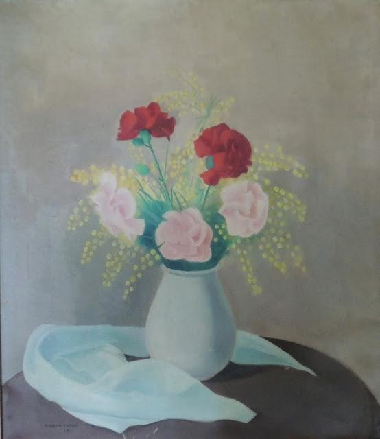 Juan Navarro Ramón bodegón flores pintura posguerra