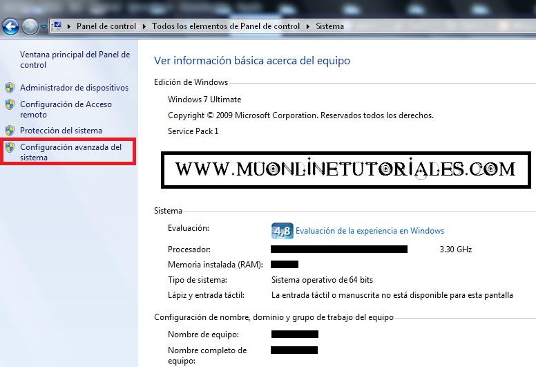 Visualizando la opción Configuracion avanzada del sistema en Windows