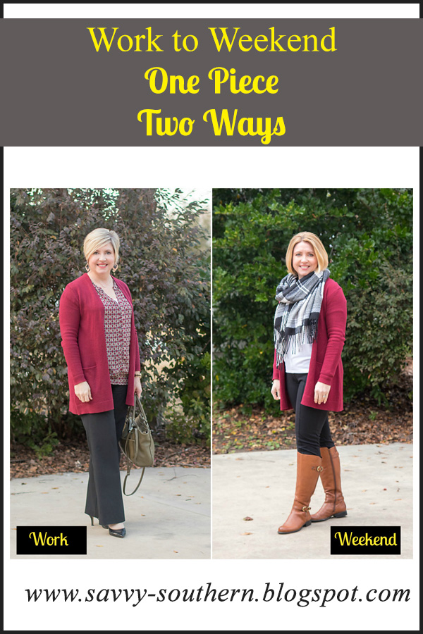 Work to weekend: One cardigan, Two ways