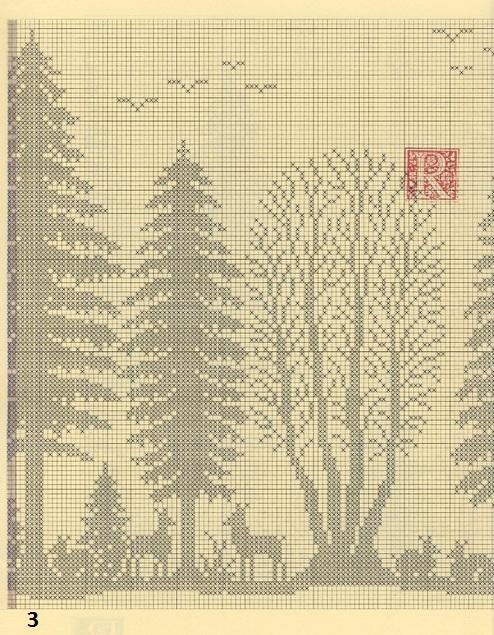 Лес. Филейные шторы крючком и вышивка (3)