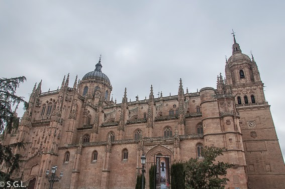 Catedral nueva y catedral vieja de Salamanca desde la plaza de Anaya