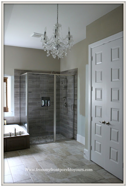 Master Bathroom-Chandelier-Wood Tile-Shower-From My Front Porch To Yours
