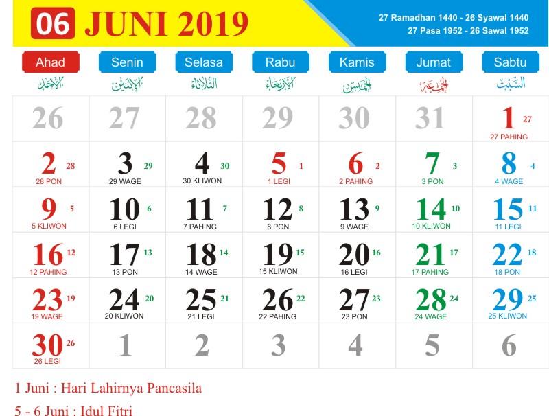 Kalender jawa juni 2019