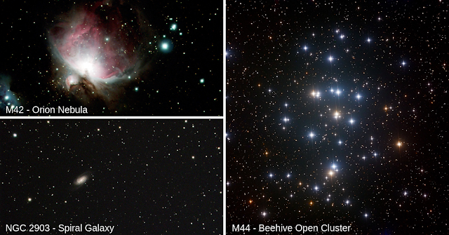 M42 - The Orion Nebula imaged on ATEO-2A by Kasey G. and Haylee L., NGC 2903 - Spiral Galaxy imaged on ATEO-2A by Julianna S. and Lily H. and M44 - The Beehive Open Cluster imaged on ATEO-1 by Faith N. and Oliver E. from Mrs. Cavicchi's 5th-grade science classes.