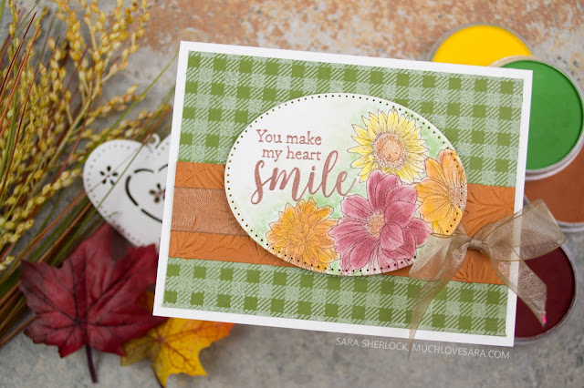 Autumn Colors, and a cozy flannel background make a fun fall card.  Stamped with Fun Stampers Journey Cottage Bouquet, and Flannel Life Stamps.