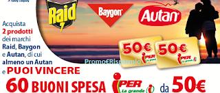 Logo Con Autan, Raid e Baygon vinci buoni spesa da 50 euro