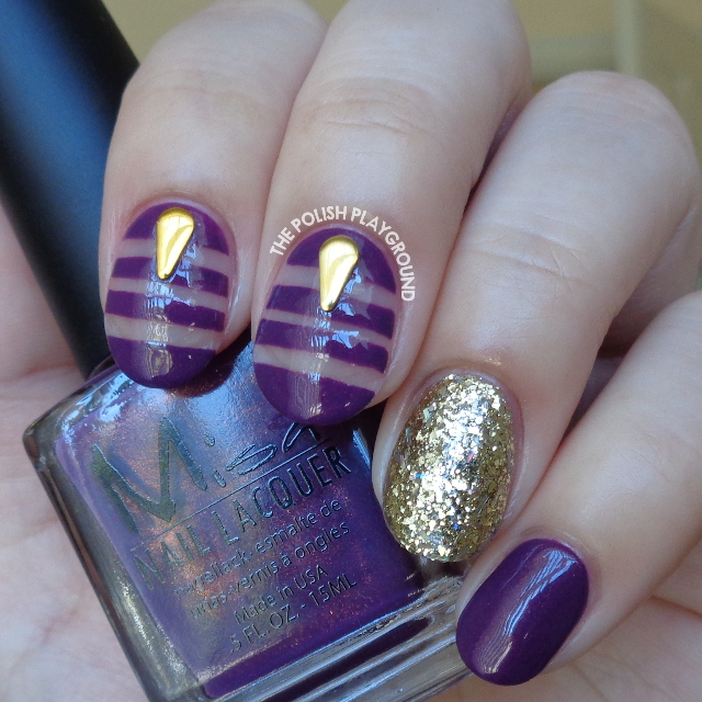 Purple and Gold Negative Space Nail Art