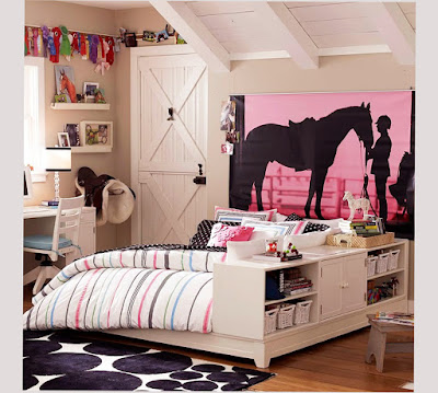 Image for Bedroom Wall Designs For Teenage Girls With Big Picture or Painting of Horse and People Best Design