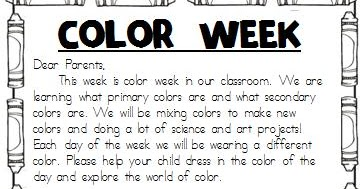 Colors and Kindergarten: Color Week