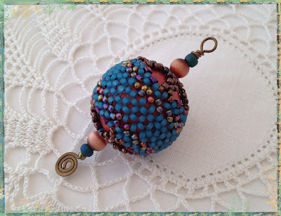 Turquoise Antiquity, Corset & Stays beaded bead pendant by artist Karen Williams