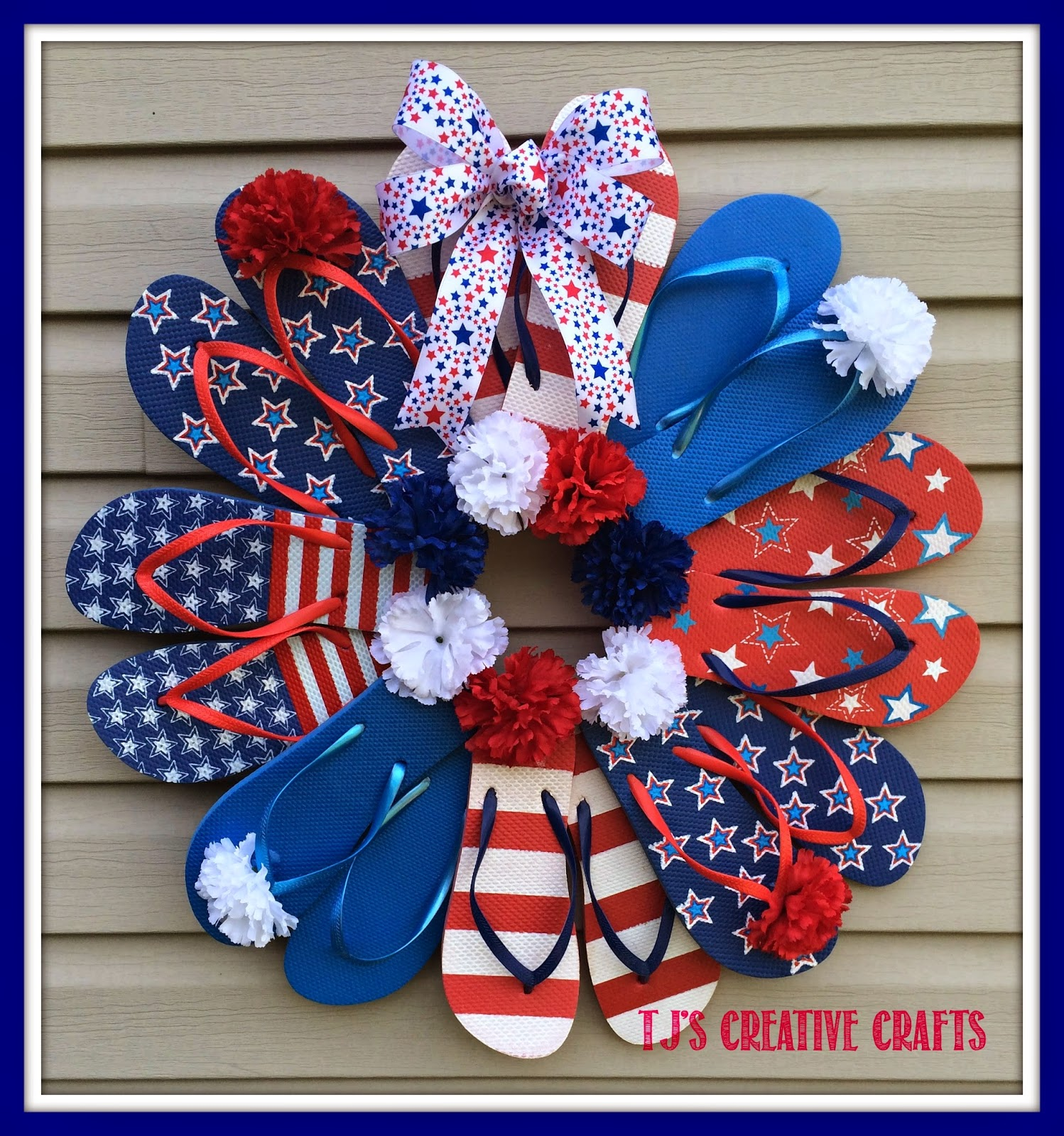 A Day In The Life With Tj Diy Dollar Store Patriotic Flip Flop Wreath Tutorial