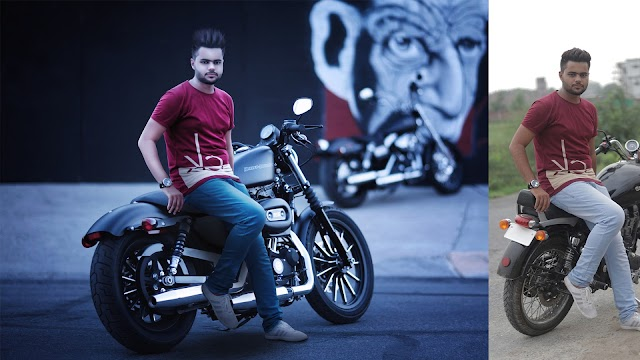 Stylish Hair and Handsome Boy With harley davidson Bike ||  Background Change Photoshop Editing