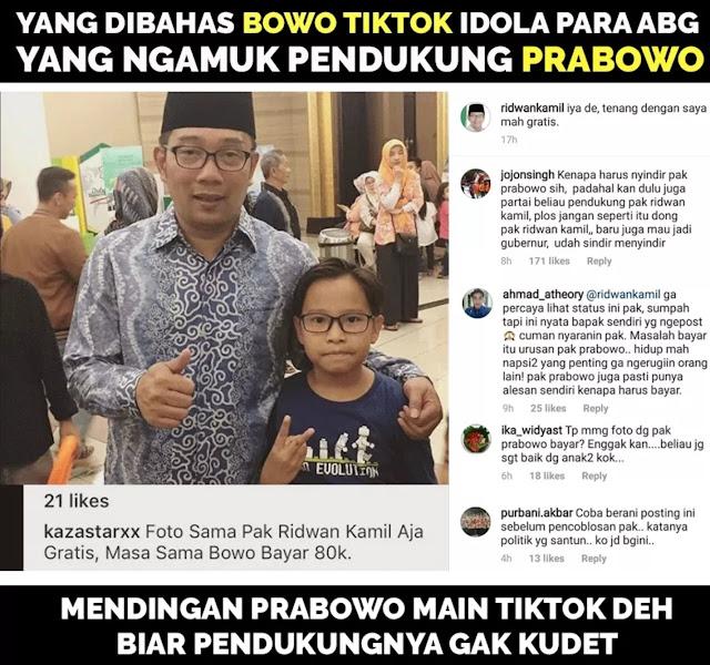Ridwan Kamil Ikut Singgung Bowo di Akun Instagram milikinya