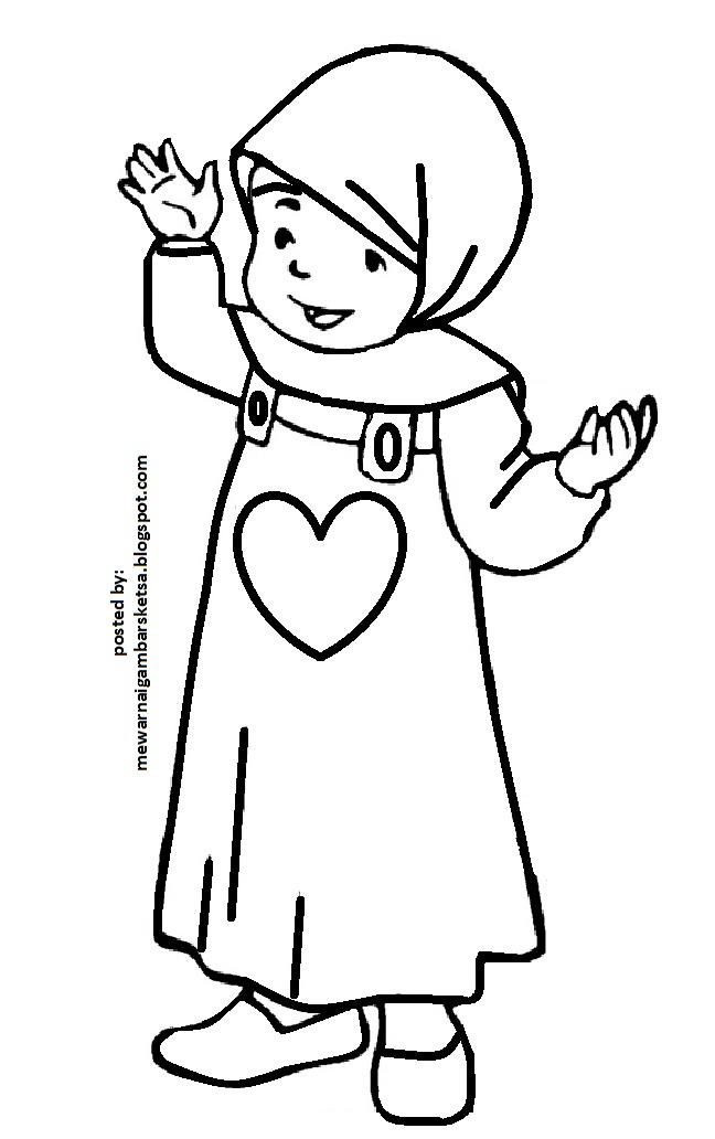 Mewarnai Gambar Mewarnai Gambar Sketsa Kartun Anak Muslimah 61
