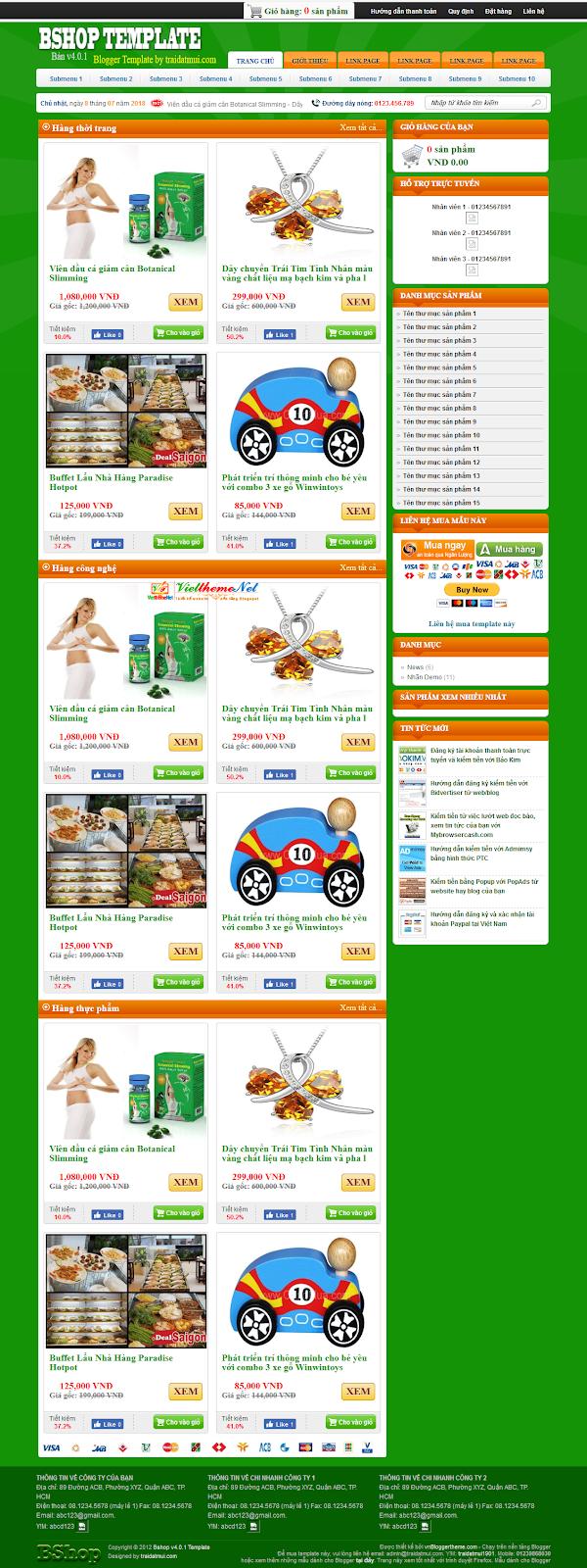 Bshop v4.0.1 - Template bán hàng giảm giá cho Blogspot