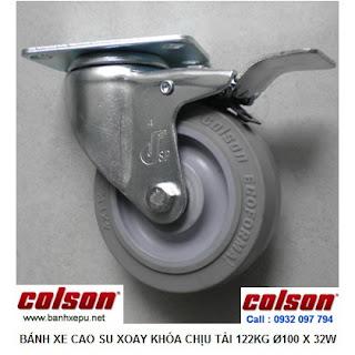 Bánh xe cao su đặc xoay khóa 4 inch chịu lực 122kg | S2-4256-TPE-B4W www.banhxepu.net