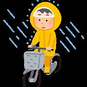 かっぱを着て自転車に乗る人のイラスト
