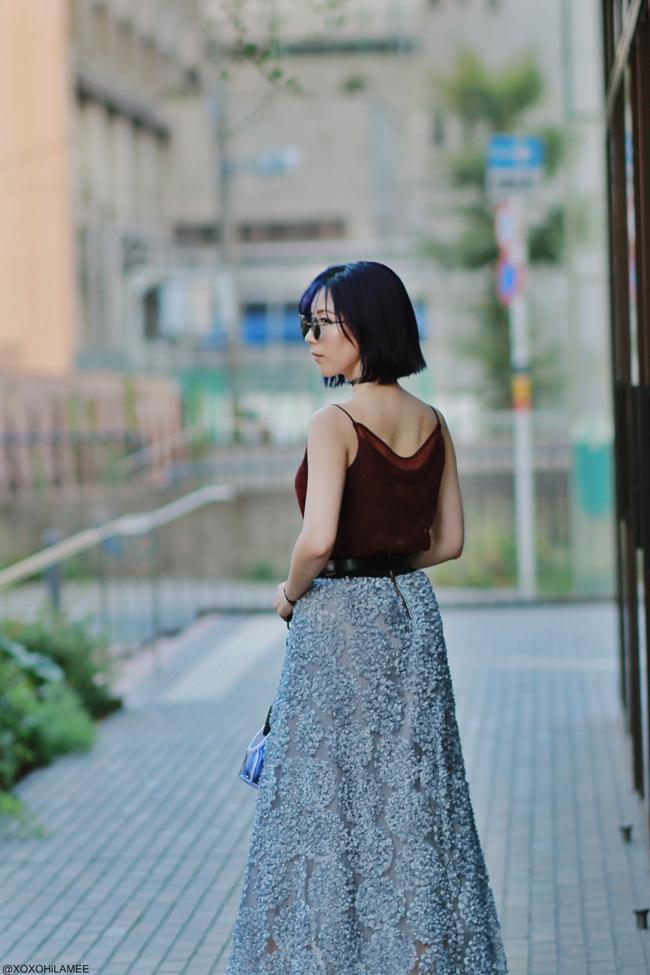 Japanese Fashion Blogger,MizuhoK,20190817,OOTD, COMME CA ISM=Cami, Chicwish= skirt, Casselini=bag, zeroUV=sunglasses, Rakuten=flat shoes