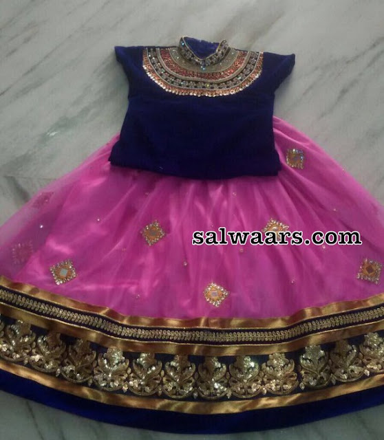 Baby Pink Kids Lehenga with Mirrors