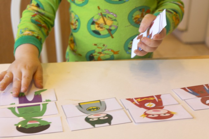 superhero matching activity