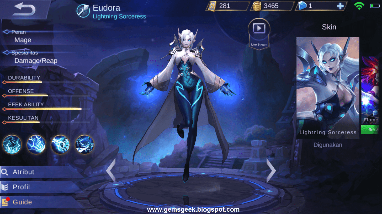 Eudora Mobile Legends Wizard With Electric Power GemsGeek