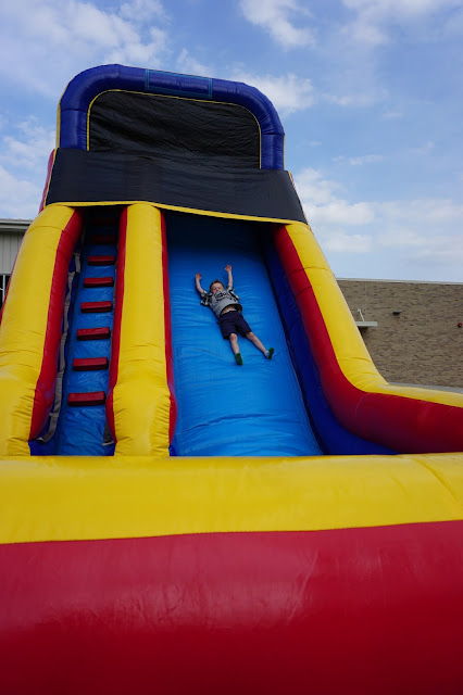 Porter on an Inflatable Slide