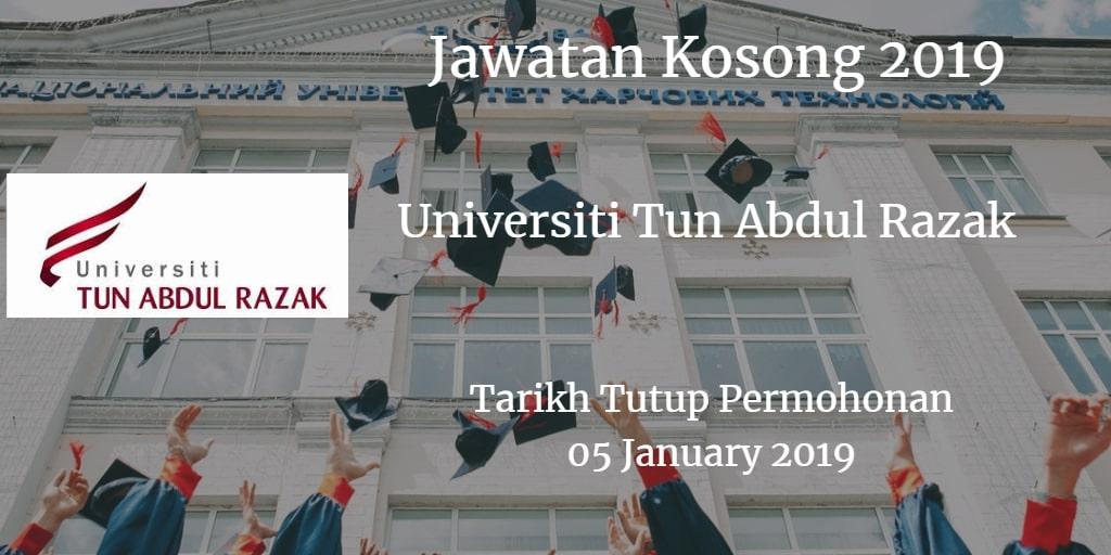 Jawatan Kosong Universiti Tun Abdul Razak 05 January 2019