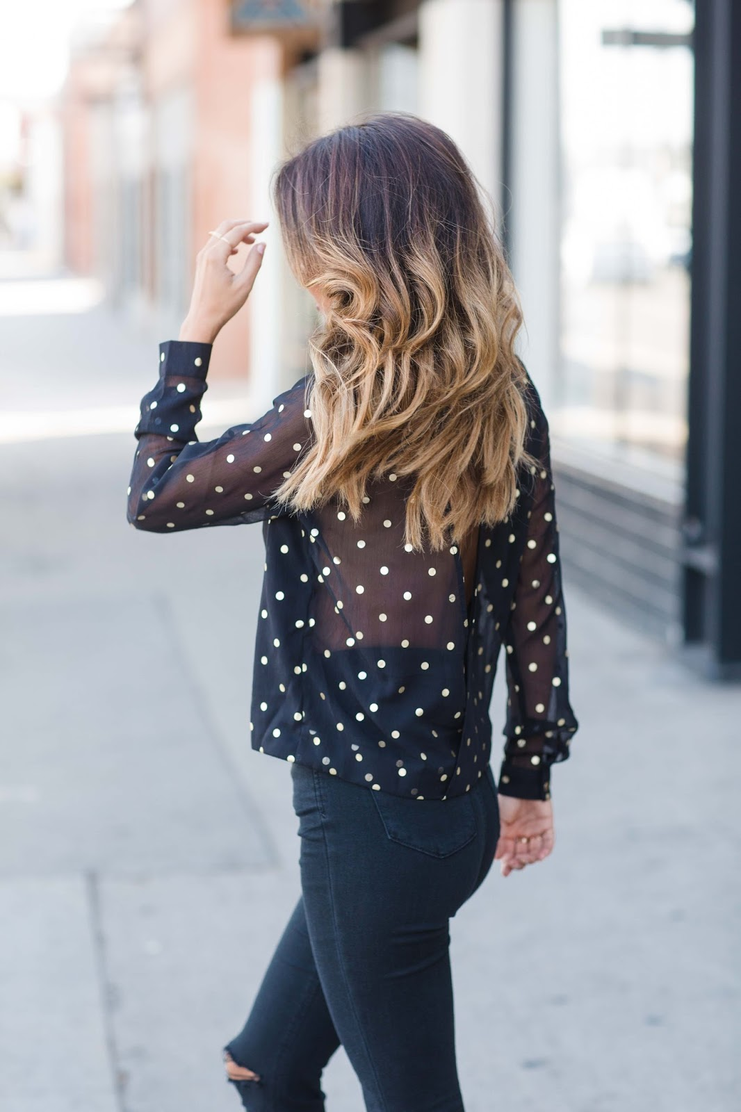 how to wear festive holiday top, holiday outfit ideas, gold polka dot top