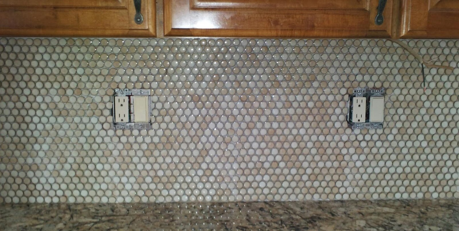 Penny Tile Backsplash Kitchen How To Refurbish Cabinets Stick With Love Let There Be