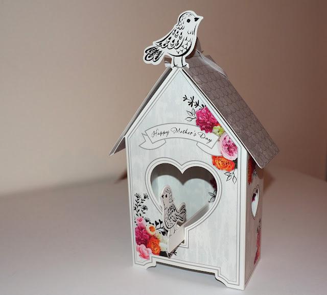 lintukortti, linnunpönttö, kolmiuloitteinen kortti, äitienpäiväkortti