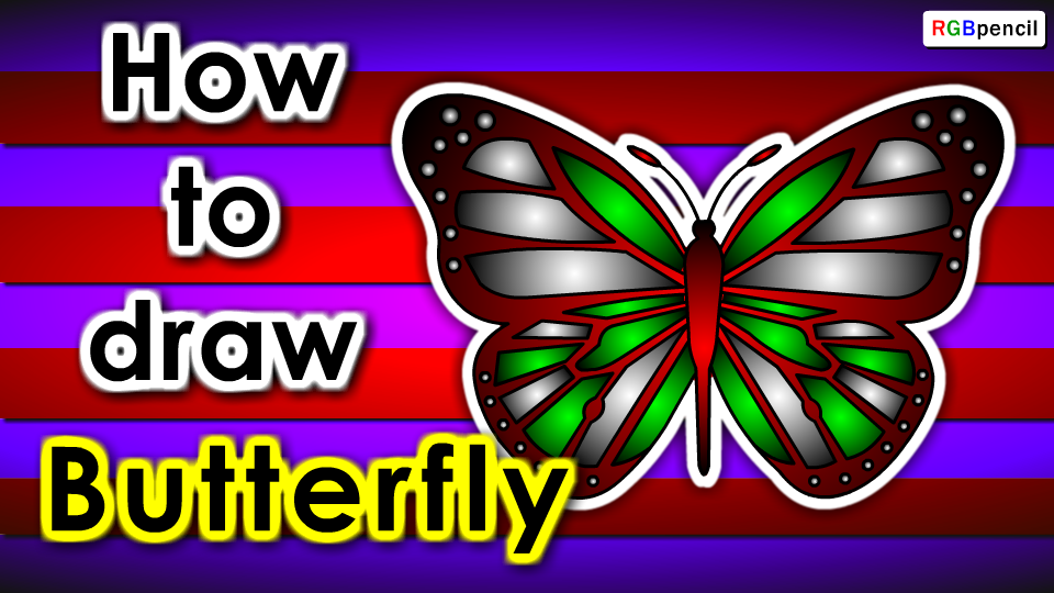 How to draw Butterfly for kids | Draw Butterfly step by ...