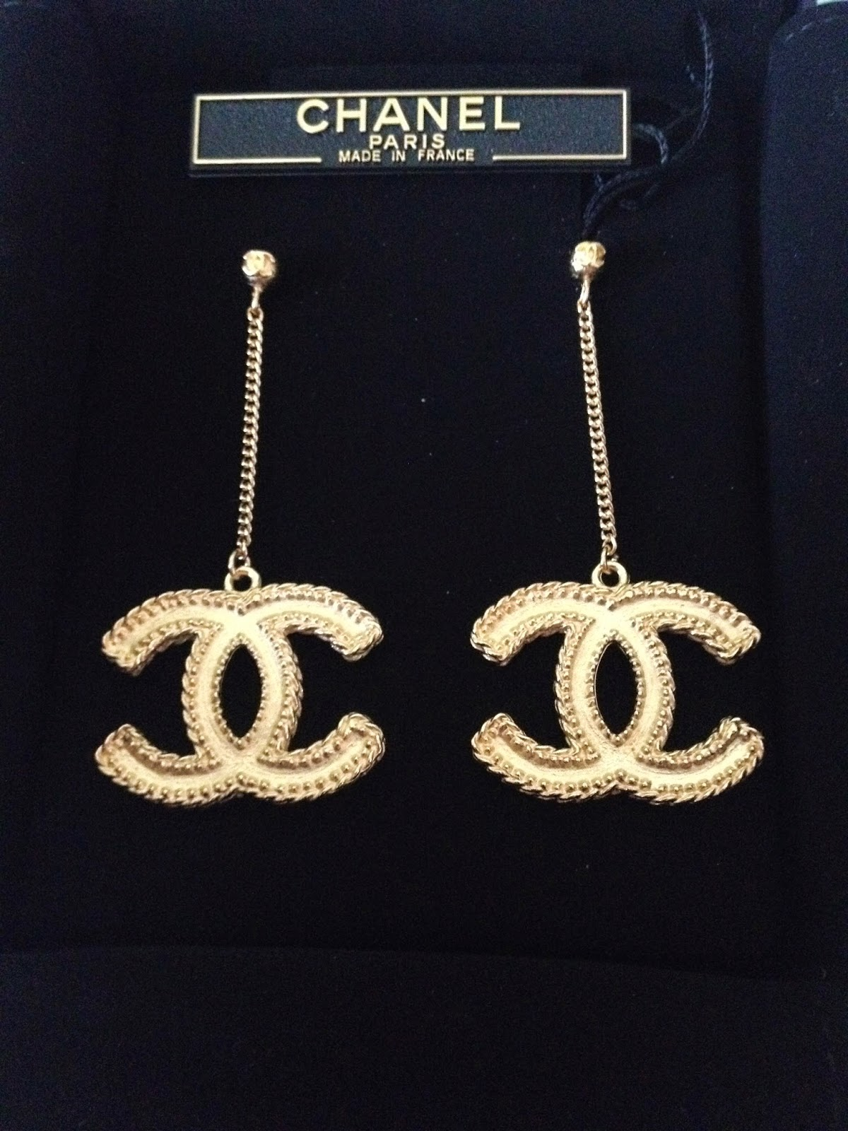 Chanel Earrings For Large Cc Logo Gold Metal