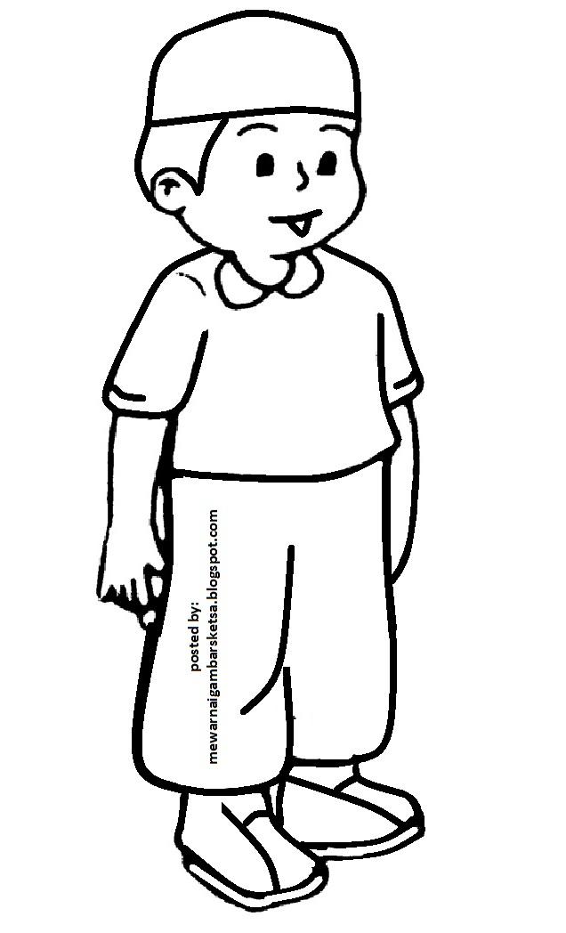 Mewarnai Gambar Sketsa Kartun Anak Muslim 35 Ngaji