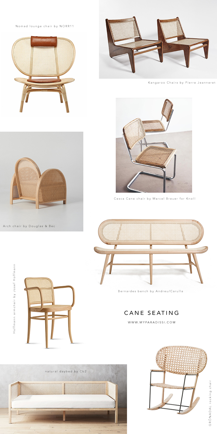 Cane seating, chairs with rattan cane, rattan armchairs, rattan cane bench, cane sofa