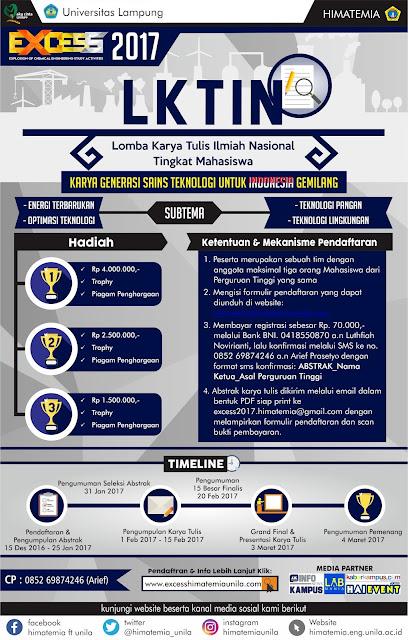 Lomba Karya Tulis Ilmiah Nasional - Mahasiswa EXCESS 2017