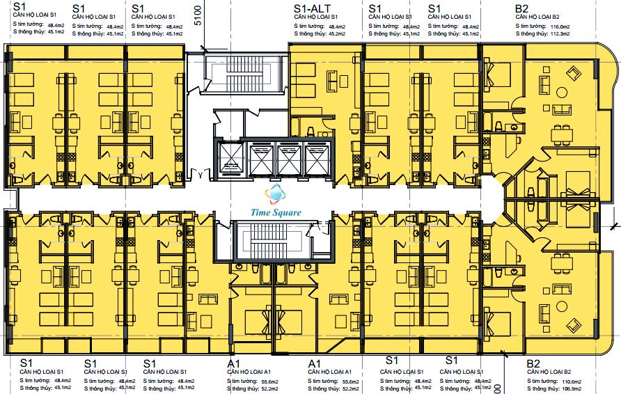 Mặt bằng tầng 4 - 22 dự án Time Square
