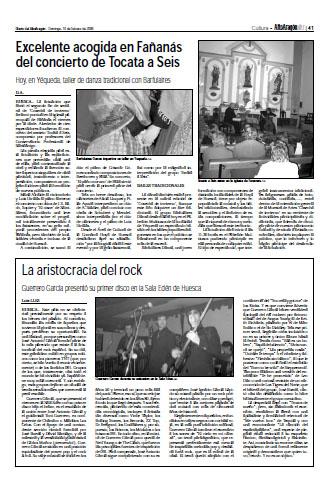 Excelente acogida en Fañanás del concierto de Tocata a Seis