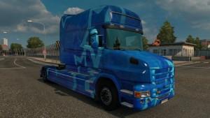 Scania T Longline Blue Stars skin