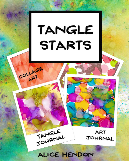 cover of my book Tangle Starts - colorful backgrounds to tangle on by Alice Hendon, available at Amazon.com